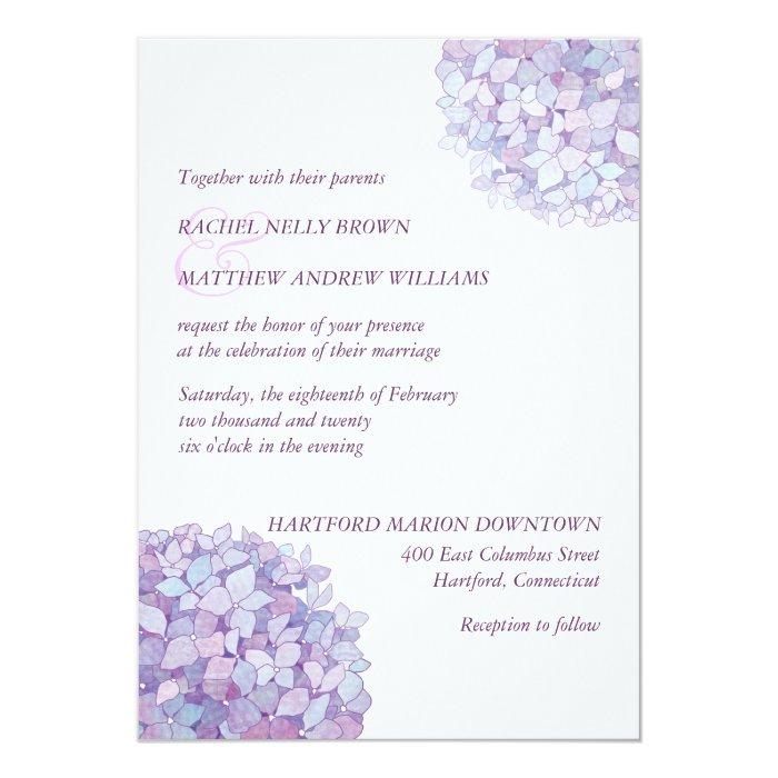 Together With Their Parents Wedding Invitation: Simple Trendy Purple Hydrangeas Wedding Card