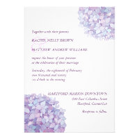 Simple Trendy Purple Hydrangeas Wedding Invitation