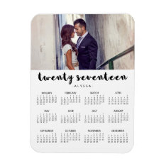 Simple Trendy Typography 2017 Photo Calendar Magnet at Zazzle