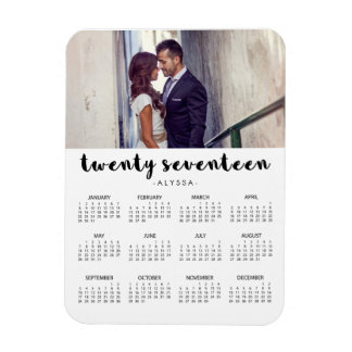 Simple Trendy Typography 2017 Photo Calendar Magnet
