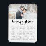 """Simple Trendy Typography 2018 Photo Calendar Magnet<br><div class=""""desc"""">This modern,  stylish 2018 calendar magnet features typography that says &quot;twenty eighteen&quot;,  personalized with your own name and photo.</div>"""