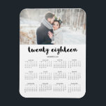 "Simple Trendy Typography 2018 Photo Calendar Magnet<br><div class=""desc"">This modern,  stylish 2018 calendar magnet features typography that says &quot;twenty eighteen&quot;,  personalized with your own name and photo.</div>"