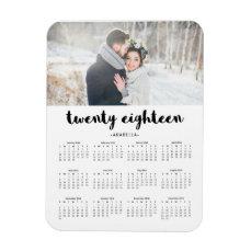 Simple Trendy Typography 2018 Photo Calendar Magnet