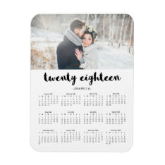 Simple Trendy Typography 2018 Photo Calendar Magnet at Zazzle