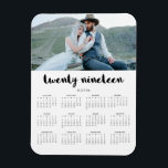 """Simple Trendy Typography 2019 Photo Calendar Magnet<br><div class=""""desc"""">This modern,  stylish 2019 calendar magnet features typography that says &quot;twenty nineteen&quot;,  personalized with your own name and photo.</div>"""