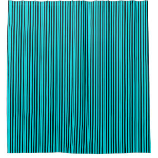 Simple Turquoise Blue and Black Stripes Shower Curtain