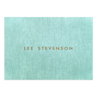Simple, Turquoise Blue, Linen Look, Minimalist Large Business Card