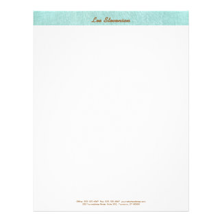 Simple, Turquoise Blue, Linen Look, Minimalist Letterhead