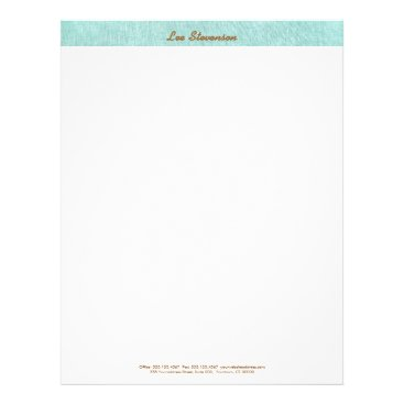 Simple, Turquoise Blue, Linen Look, Minimalist Letterhead