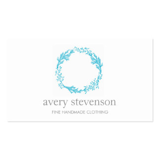 Simple Turquoise Hand Drawn Wreath Logo Nature Business Card Template