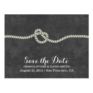 Simple Twine Knot Chalkboard Save the Date Postcard
