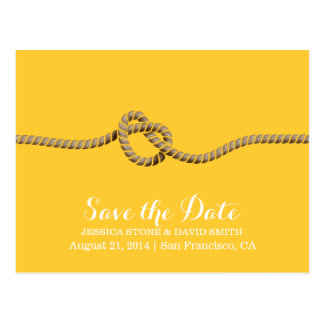 Simple Twine Knot Yellow Save the Date Wedding Postcard