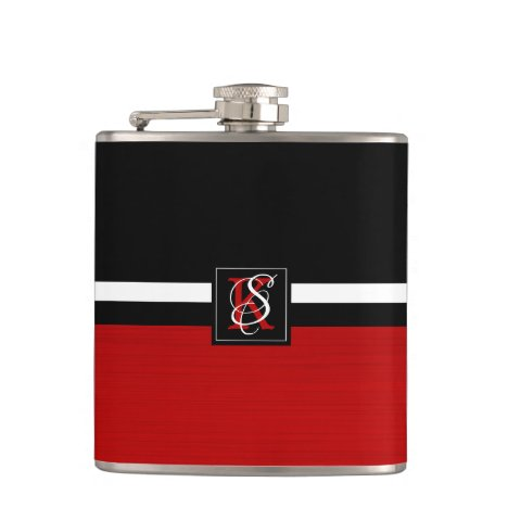 Simple Two Tone Black and Red Initials Monogram Flask
