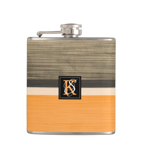 Simple Two Tone Orange and Sepia Initials Monogram Flask
