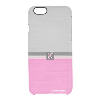 Simple Two Tone Pink and Grey Initials Monogram Clear iPhone 6/6S Case