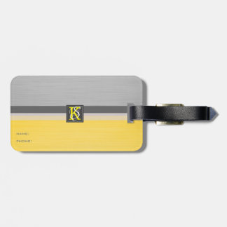 Simple Two Tone Yellow and Grey Initials Monogram Luggage Tag