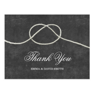 Simple Tying the Knot Chalkboard Thank You Cards Postcard