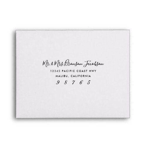 Simple Type Black and White Return Address Front Envelope