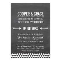SIMPLE TYPE WEDDING geometric pattern arrow gray Invitation