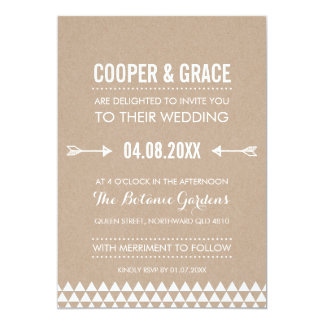 SIMPLE TYPE WEDDING geometric pattern arrow kraft Card