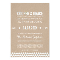 SIMPLE TYPE WEDDING geometric pattern arrow kraft Invitation