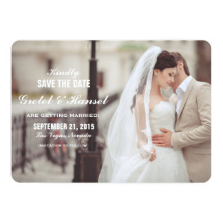 simple typeface photo save the date card