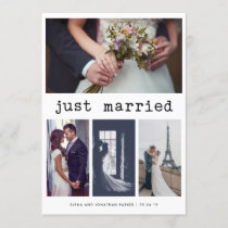 Simple Typewriter Text Just Married | 4 Photo Announcement