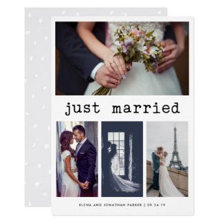 Simple Typewriter Text Just Married | 4 Photo Card