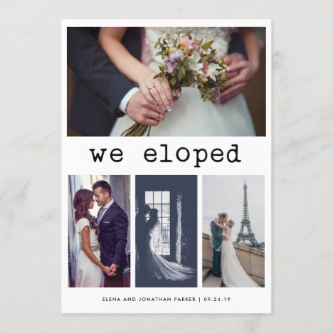 Simple Typewriter Text We Eloped | 4 Photo Announcement