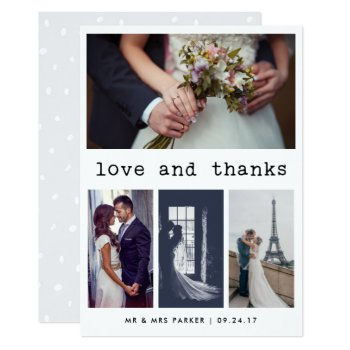 Simple Typewriter Text Wedding Thank You | 4 Photo Card by Customize_My_Wedding at Zazzle