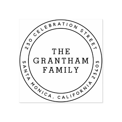 Simple Typography Family Name Round Return Address Rubber Stamp