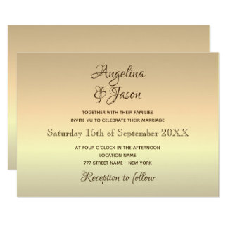 Simple Typography Gold Foil Wedding Invitation