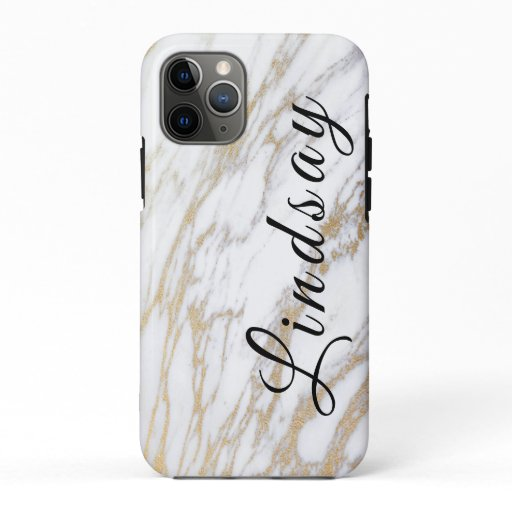 Simple Typography Gold & White Marble Lindsay Name iPhone 11 Pro Case