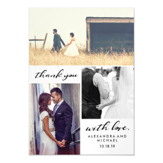 Simple Typography | Three Photo Wedding Thank You Magnetic Card