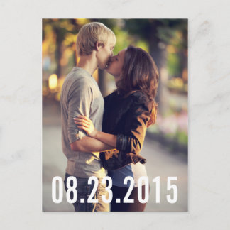 SIMPLE TYPOGRAPHY VERTICAL SAVE THE DATE POSTCARD