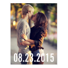 Simple Typography Vertical Save The Date Postcard at Zazzle