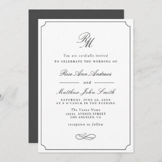 simple typography wedding invitation