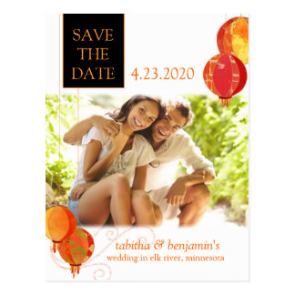 Simple Unique Red Lanterns Photo Save the Date Post Cards
