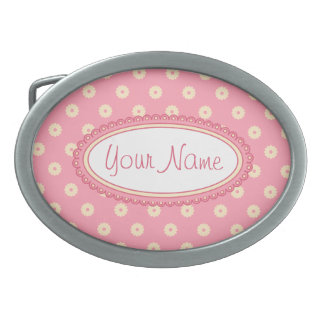 Simple Vector Daisy Flowers in Yellow on Pink Belt Buckle
