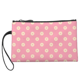 Simple Vector Daisy Flowers in Yellow on Pink Wristlet Wallet