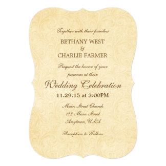 Simple Vintage Antique Bracket Wedding Invitation
