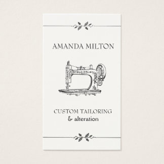 Simple Vintage Elegant Seamtress Fashion Sewing Business Card