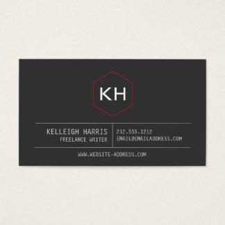 Simple Vintage Monogram Logo in Dark Gray/Red Business Card
