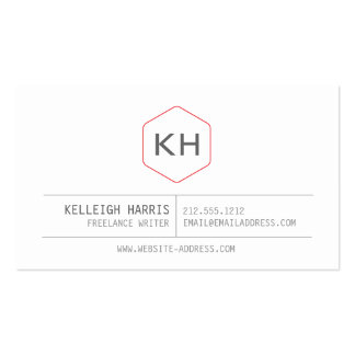 Simple Vintage Monogram Logo in Gray/Red Business Card Template