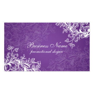 Simple Vintage Scroll Purple Business Card Template