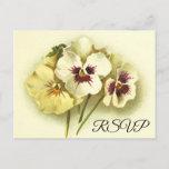 [ Thumbnail: Simple Vintage Style Floral RSVP Postcard ]
