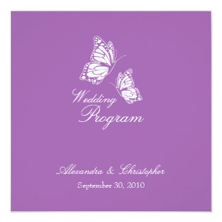 Simple Violet Butterflies Wedding Program