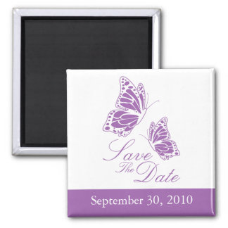 Simple Violet Butterfly Save The Date Wedding 2 Inch Square Magnet