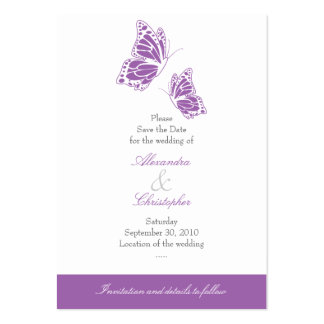Simple Violet Butterfly Save The Date Wedding Mini Large Business Card