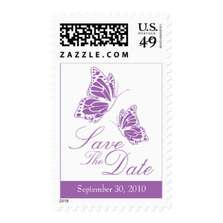 Simple Violet Butterfly Save The Date Wedding Postage